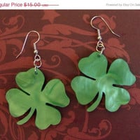 BOGO Blowout Sale ShamROCK N Roll - Green Shamrock STATEment Earrings, Acrylic