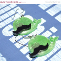 BOGO Blowout Sale Whale of a 'Stache - Cute Acrylic Earrings