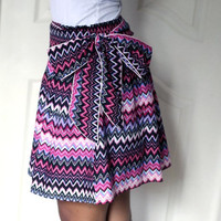 ON SALE Spring Tribal Chevron Purple Pink and Black Mini Skirt with Sash