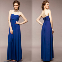 New Womens Long Dress Solid Party Evening Elegent Srapless