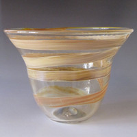 Golden Toned Glass Bowl Handblown Art Decor by HorkoverGlass