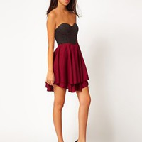 Club L Skater Dress With Lace Sweetheart Neckline at asos.com