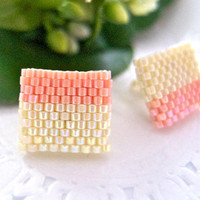 Beige Pink Color Block Ear Studs Beaded by JeannieRichard on Etsy
