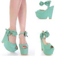 Mint Teal Faux Snake Skin Leather Open Toe Bow Ankle Strap Wedge Shoes Fashion
