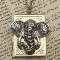 Steampunk Elephant Locket Necklace b Vintage Style by sallydesign