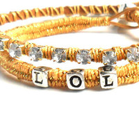 Personalized  woven Bracelet sterling silver stamped beads Crystal chain leather Texting