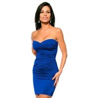 Amazon.com: Sexy Fitted Strapless Ruched Evening Club Party Womens Mini Dress, Large, Royal Blue: Clothing
