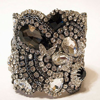 Black Crystal Cuff With Adjustable Clasp Ready to by Couturelove