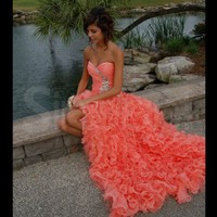 Beautiful Orange Ball Gown Sweetheart High-low Asymmetrical Prom Dress