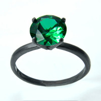 Emerald Ring, Right-Hand Blackened Silver Ring, Tiffany Set Emerald in Sterling Silver,