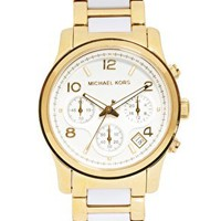 White And Gold Strap Chronograph Watch