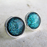 Post Earrings  Turquoise Aqua Sparkle Earrings in by AshleySpatula