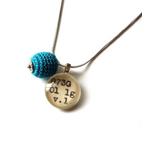 Deep Teal Ocean Crochet Ball Drop Dewey Decimal Necklace Sterling Silver Chain One of a Kind