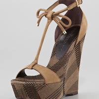 Suede and Check Canvas Wedge Sandal