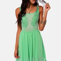 Appli-que Sera Sera Mint Green Lace Dress