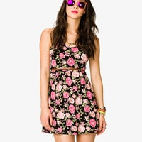 Rose Print Shirred Waist Dress w/ Belt