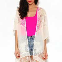 Lace and Chiffon Sheer Cardigan by AKIRA | Womens Cardigans | shopAKIRA.com