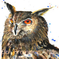 Original watercolor painting of an Eagle Owl by Ellen Brenneman