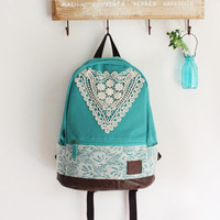 [ grd03052]Fashion Green Backpack with Crochet