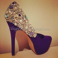 Swaroski Rhinestones Pearls Bridal, Proms, Sweet 16, Club, or just because Beautiful Pumps Heels Custom Shoes