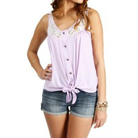 Lilac Lace Sleeveless Tie Front Top