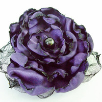 Wedding Hair Flower, Purple Flower Accessory, Hair Clip or Pin, Made To Order