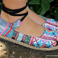 Ankle Wrap Espadrille Flat Womens Shoe, Hmong Embroidery &amp; Batik,