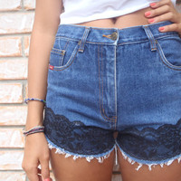 Vintage Black Lace HighWaisted Denim Shorts by taylabaxtervintage
