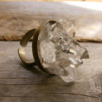 Quartz Raw Crystal Cluster Ring  Crystal Garden by xVELVETx