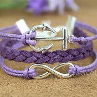 anchor bracelet, bracelet, infinity bracelet,anchor, infinity,love bracelet, purple bracelet,girlfriend and BFF