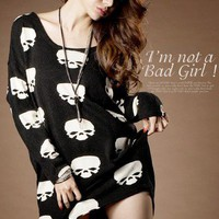 Korean Women Fashion Skull Pattern #1092 Long Batwing Sleeve Loose TOPS
