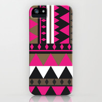 Bright Pink Brown Geometric Andes Aztec Abstract Pattern iPhone Case by Girly Trend | Society6
