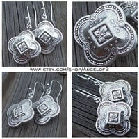 Simply Boho Chic Silver Medallion Metal Drop Earrings