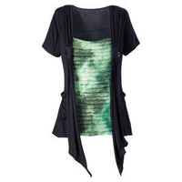 Rippled Green and Black Top                        - New Age & Spiritual Gifts at Pyramid Collection