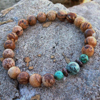 Picture Jasper, African Turquoise Meditation Bracelet  - Harmony and Perspective Beaded Stretch Bracelet