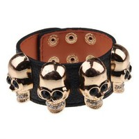 Women Black Punk Faux Leather Black Rhinestone Skull Wide Bangle Bracelet Cuff: Jewelry: Amazon.com