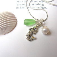 Sea glass Mermaid Necklace in Light Green - Beach Theme Wedding - Mermaid Bridesmaids seaglass pendants