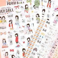 Kawaii Korean adhesive Stickers - 6 sheets set -  Ponybrown Paper doll