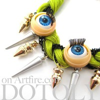 SALE Unique Doll Eye Bracelet in Green Braided Thread Spikes and Studs