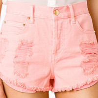 Spiked Distressed Denim Shorts