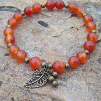 Orange Agate Meditation Stretch Bracelet with Charms -    Strength and Bravery