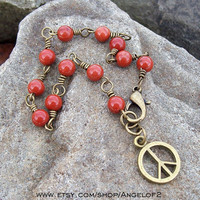 Peace Charm Red Jasper Gemstone Beaded Link Bracelet
