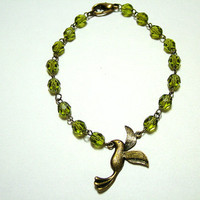 Lovely Bronze Bird and Olive Green Czech Round, Faceted Bead, Hand linked Bracelet