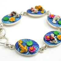 Koi Pond Bracelet Silver Plated with Polymer Clay by StarlessClay