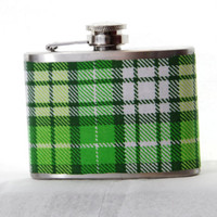 4oz Stainless Steel Hip Flask with green and white plaid fabric wrap