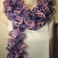 Purple Pink Ruffled Fashion Scarf