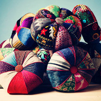 patchwork floor cushions: colorful pumpkin - II