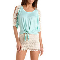 Tie-Front Crochet Cold Shoulder Top: Charlotte Russe