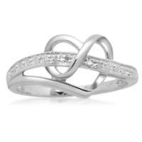 Sterling Silver Diamond Heart Ring (1/20 cttw, I-J Color, I3 Clarity): Jewelry: Amazon.com