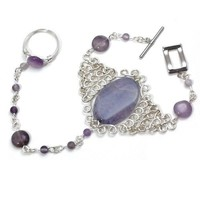 February Birthstone Slave Bracelet Purple Agate and Genuine Amethyst